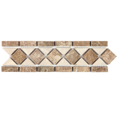 INVERTED DARK EMPERADOR AND BOTTICHINO DIAMOND LISTELLO - Briddick Tile + Stone
