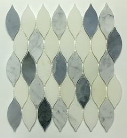 AZURE AND THASSOS MIX LEAF - Briddick Tile + Stone