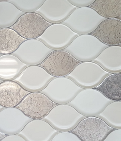 PEARL SILVER GOLD CLEAR GLASS LEAF - Briddick Tile + Stone