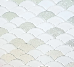 SCALLOP WHITE AND SILVER GLASS - Briddick Tile + Stone