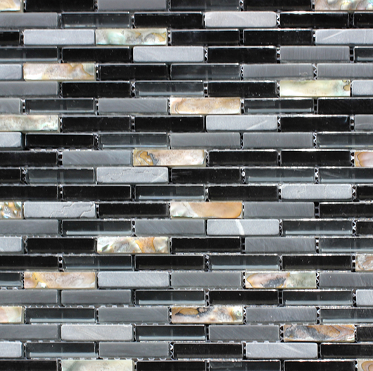 BLACK GLASS MOTHER OF PEARL SHELL - Briddick Tile + Stone