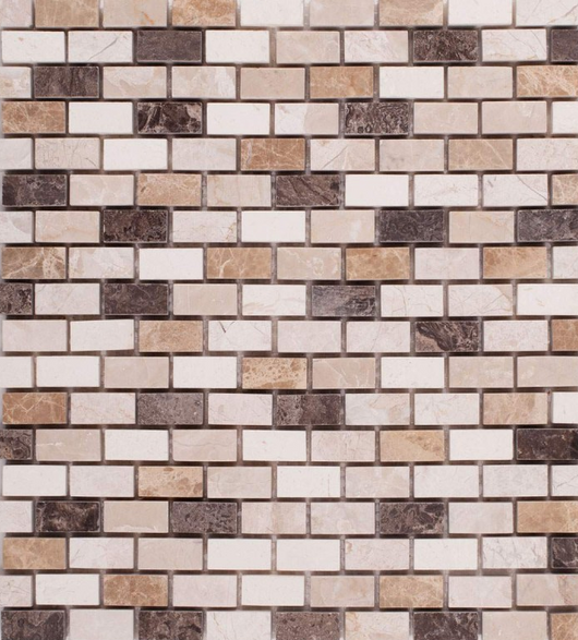 MOSAIC MIX QUEEN BEIGE MARBLE TILE - Briddick Tile + Stone