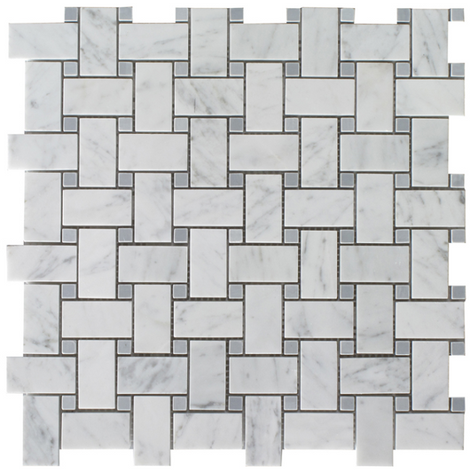 BASKET GREY DOT ITALIAN BIANCO CARRARA - Briddick Tile + Stone