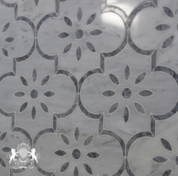 CARRARA BARDIGLIO FLOWER ARABESQUE POLISHED - Briddick Tile + Stone