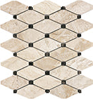 DIAMOND WITH DARK EMPERADOR DOT ROYAL QUEEN BEIGE HONED MARBLE TILE - Briddick Tile + Stone