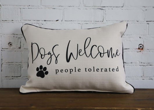 Dog Lover's Pillow - with black piping - Briddick Tile + Stone