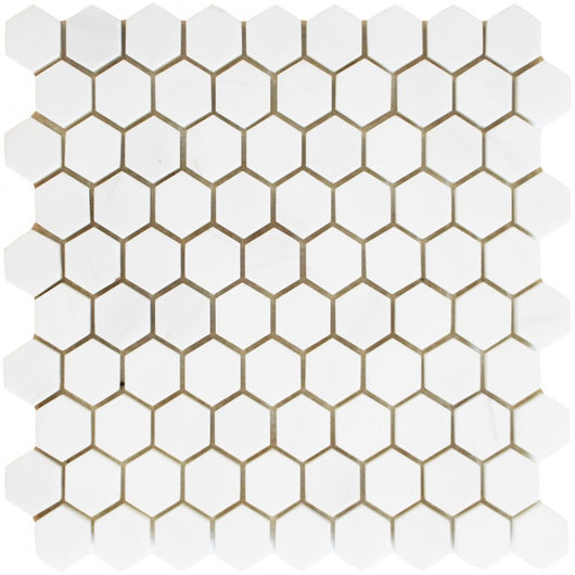 "1 1/4"" Honed Hexagon Alpine Marble Collection - Bianco Puro - Briddick Tile + Stone"