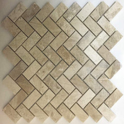 1X2 HERRINGBONE ROYAL QUEEN BEIGE POLISHED MARBLE TILE - Briddick Tile + Stone