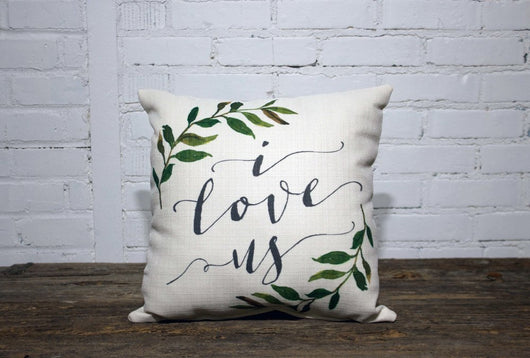 I love Us leaf Pillow (2 week lead time) - Briddick Tile + Stone
