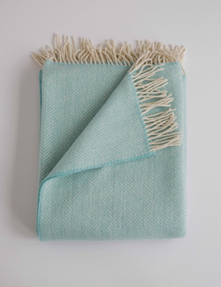 Evangeline Linens Merino Cashmere Herringbone Throw - Sea Foam - Briddick Tile + Stone