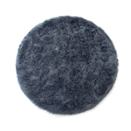 Machine Washable Gray Faux Sheepskin Round Area Rug 42