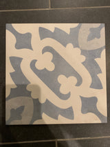Porcelain blue patterned tile - cement look