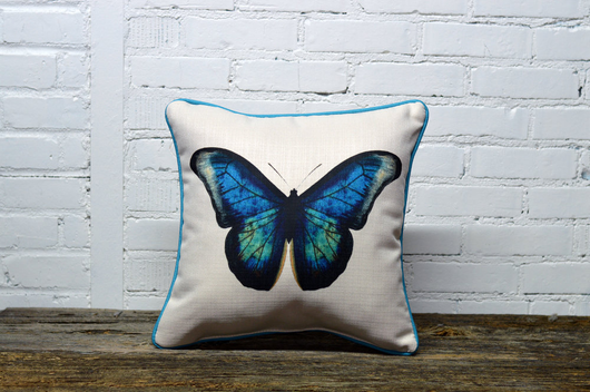 Featured Product: Blue Butterfly Pillow - with turquoise piping - Briddick Tile + Stone