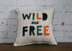 Wild & Free Pillow with piping