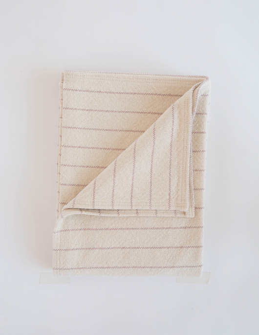 Evangeline Linens Cotton Pinstripe Throw - Blush Stripe - Briddick Tile + Stone