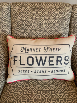 Market Fresh Flowers Pillow - with pink piping