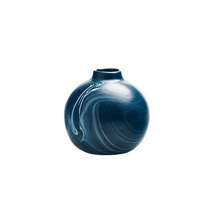 Round Bud Vase in Navy with Cream Marbling - Briddick Tile + Stone