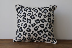 Black and White Cheetah Print Throw Pillow - Briddick Tile + Stone