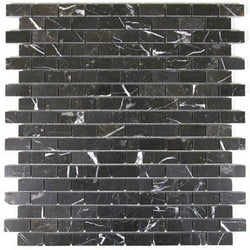 Nero Marquina Brick Mosaic Polished - Briddick Tile + Stone