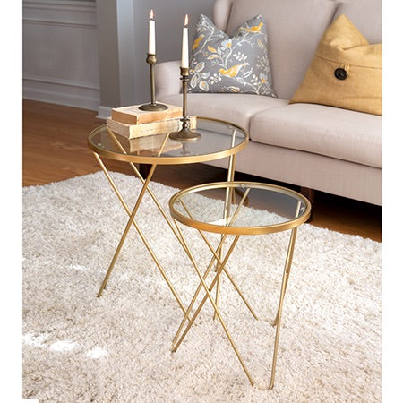 Set of 2 Gold Side Tables with Glass Top - Briddick Tile + Stone