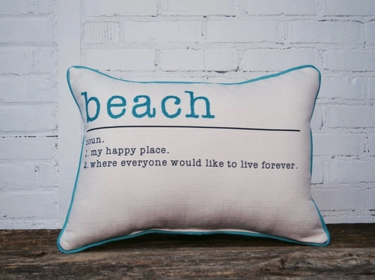 BEACH PILLOW - WITH AQUA PIPING - Briddick Tile + Stone