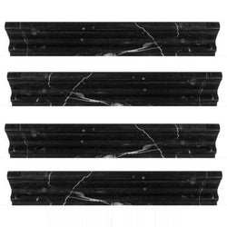 "Nero Marquina Polished Chair Rail 1 3/4"" x 12"" - Briddick Tile + Stone"