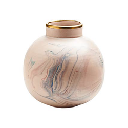Large Round Vase in Pink with Candy Marbling