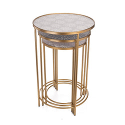 Set of 3 Brass Accent Tables - Briddick Tile + Stone
