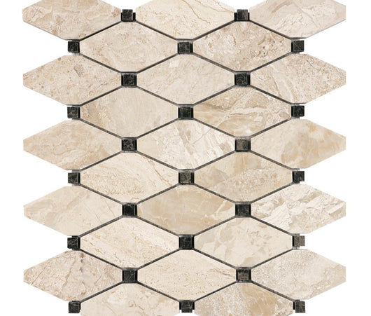 DIAMOND WITH DARK EMPERADOR DOT ROYAL QUEEN BEIGE POLISHED MARBLE TILE - Briddick Tile + Stone