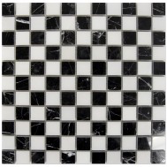 Nero Marquina Polished Marble Checkered Mosaic - Briddick Tile + Stone