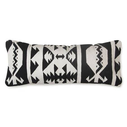 Tulum Kilim Lumbar Pillow, Black & White - 12x30 Inches - Briddick Tile + Stone