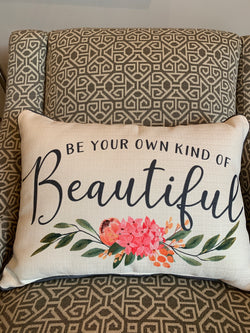 Be Your Own Kind of Beautiful Pillow - with piping - Briddick Tile + Stone