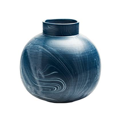 Large Round Vase in Navy with Cream Marbling