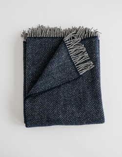 Evangeline Linens Merino Cashmere Herringbone Throw - Midnight Blue - Briddick Tile + Stone