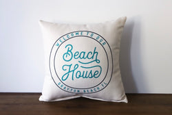 Beach house pillow - choose any custom city/beach - Briddick Tile + Stone