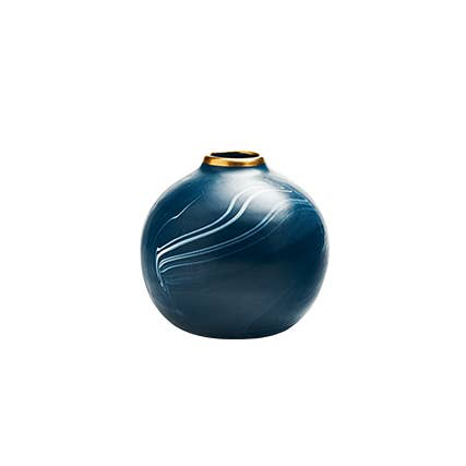 Round Bud Vase in Navy with Cream Marbling and Gold - Briddick Tile + Stone