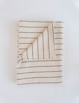 Evangeline Linens Cotton Pinstripe Throw - Black Stripe - Briddick Tile + Stone