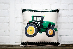 Green Tractor Pillow - no piping