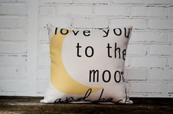 Love you to the moon pillow no piping