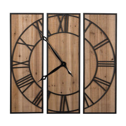3 Panel Wall Clock - Briddick Tile + Stone
