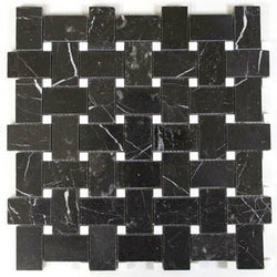 Nero Marquina polished Basketweave with white dot - Briddick Tile + Stone