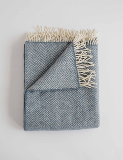 Evangeline Linens Merino Cashmere Herringbone Throw - Twilight - Briddick Tile + Stone