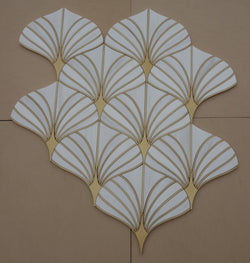Fantasia - Bianco Dolomiti and Brass CALL FOR PRICING - Briddick Tile + Stone