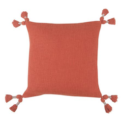 Tassel Throw Pillow, Burnt Orange_ 18x18Inches