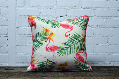 Flamingo Pillow - with pink piping - Briddick Tile + Stone
