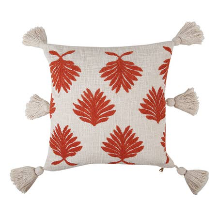 Hand Embroidered Petal Pillow, Burnt Orange - 18 x 18 Inches - Briddick Tile + Stone