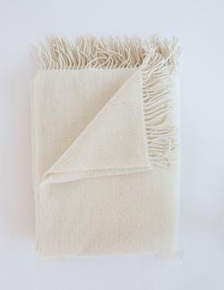 Evangeline Linens Merino Cashmere Herringbone Throw - Cream - Briddick Tile + Stone