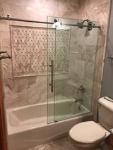 "Frameless Glass Shower Door 56-60"" W x 62"" H - FREE SHIPPING! - Briddick Tile + Stone"