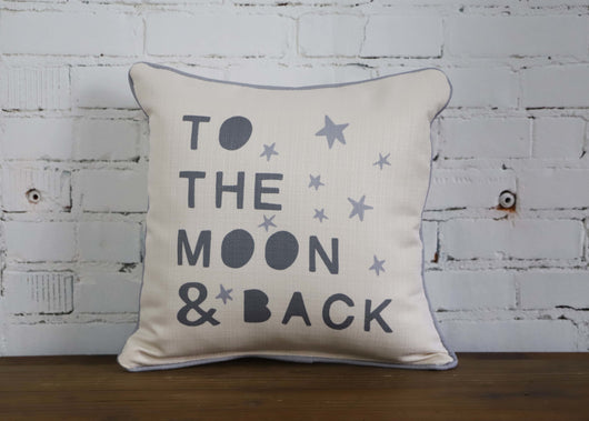 Love you to the moon and back pillow - with gray piping