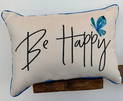 Happy Pillow-with blue piping